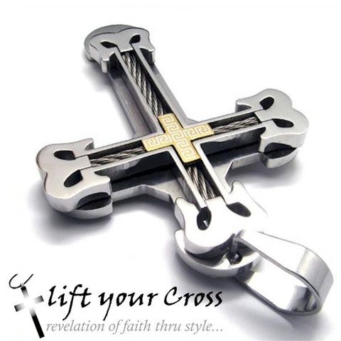 Stainless Steel Cross Necklace Cable Look Titanium Pendant