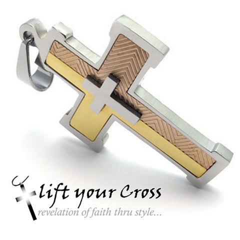 3 Tone Christian Stainless Steel Cross Pendant Necklace - Silver, bronze and Gold