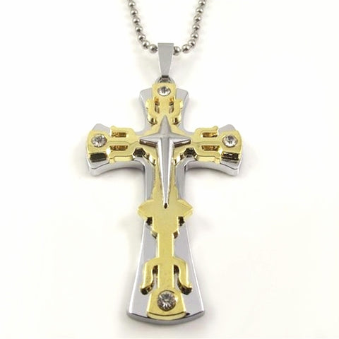Christian Cross Necklace Silver Gold Layered Rugged Look