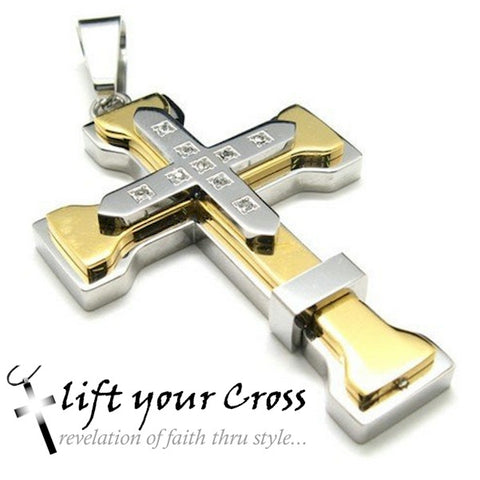 Christian Stainless Steel Cross Pendant Necklace - Silver and Gold with 9 crystals