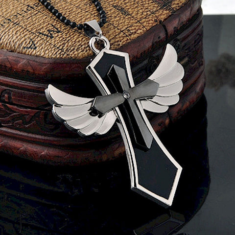 Large Stainless Steel Winged Cross Pendant, Polished Chrome Necklace