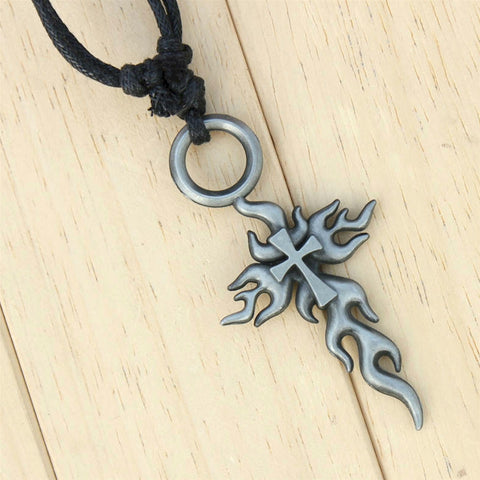 Flaming Fire Cross Necklace