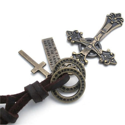 Christian Antique look Cross Necklace with genuine leather - handmade jewelry