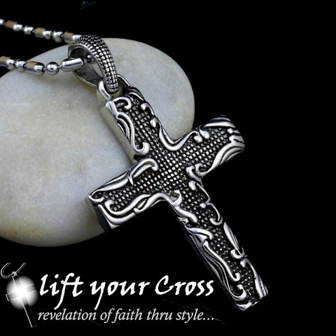 Christian Cross Stainless Steel Old School Vintage Tribal Cross Pendant Silver