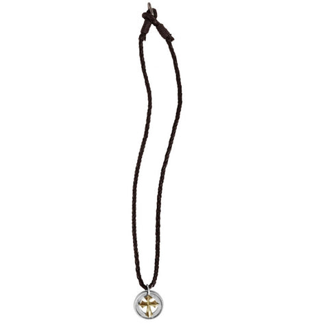 Concho Cross - Mens Christian Western Style Concho with a Rope Edge Necklace