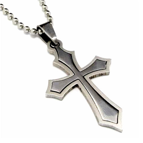 Christian Men's Woman's Hollow Poignant Cross Stainless Steel 2 piece Pendant