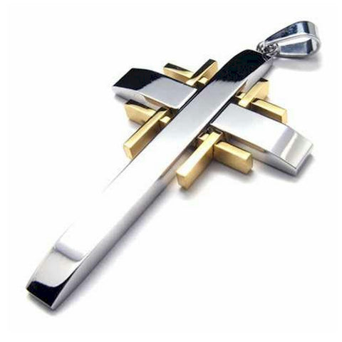 Christian Cross Stainless steel silver necklace with gold inserts