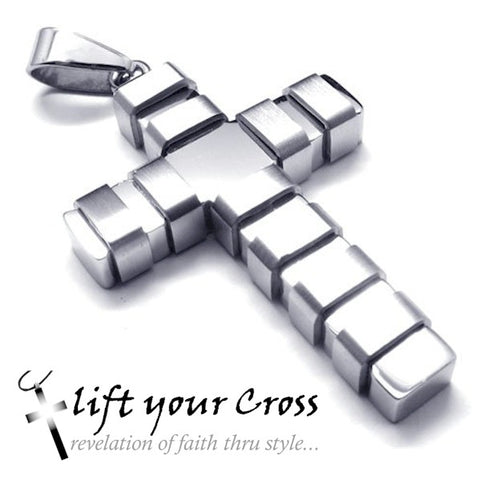 Christian Contemporary Stainless Steel Cross Men's Ridge Necklace - LYC