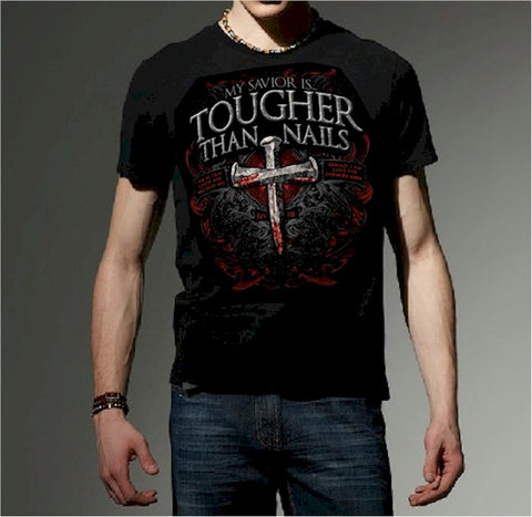 Christian Men's T-shirt - Tougher Than Nails Cross - Lift Your Cross