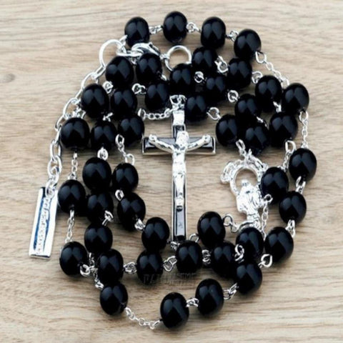 D & B Beckham Style Christian Black Bead Chain Rosary Cross Fashion Pendant