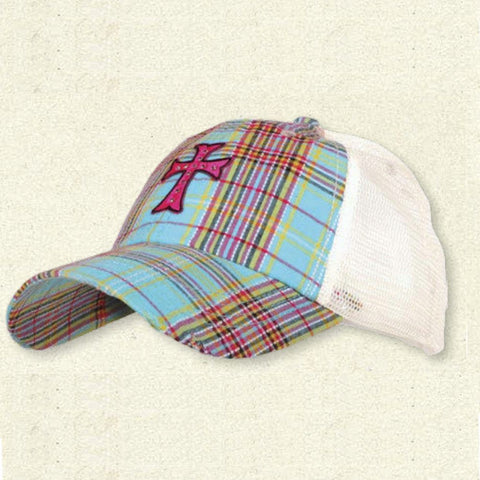 Plaid Hat with cross