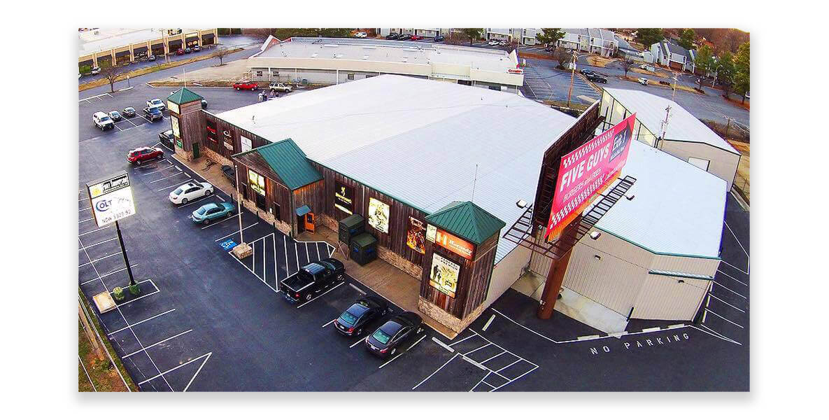 An aerial photo of Fort Thompson Sporting Goods, in Sherwood, Arkansas, at its current location on Warden Road.