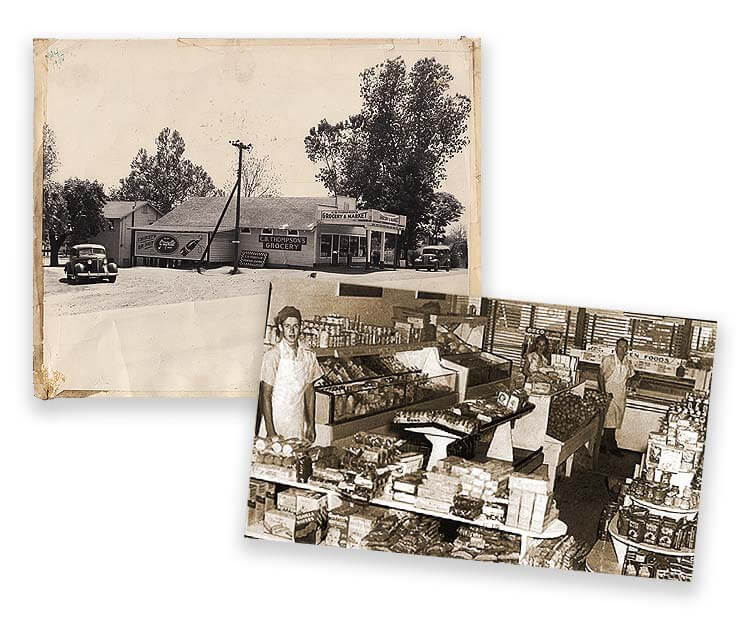 Clyde Thompson's Grocery store circa 1948, on Broadway, in Rose City/North Little Rock.