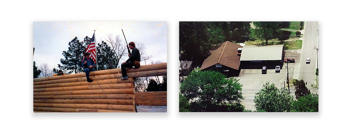 Fort Thompson Sporting Goods under construction, in Rose City/North Little Rock, in 1985 (left) and An aerial photo of Fort Thompson Sporting Goods, in Rose City/North Little Rock, after add-ons in the mid 90's (right)