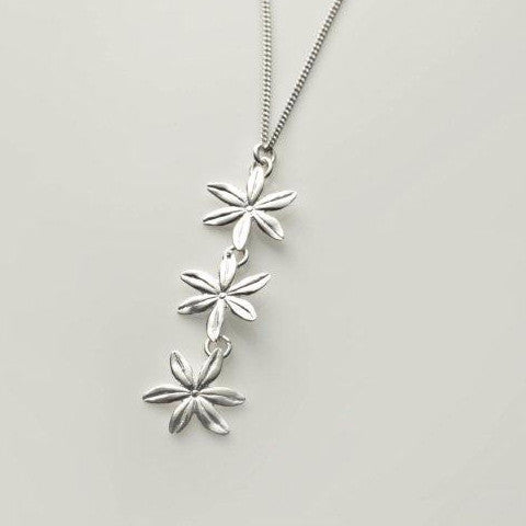 3 flower drop sterling silver necklace, made in ireland by jewellery designer Mairead deBlaca