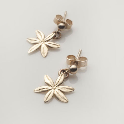 Cover me in daisies tiny drop earrings in solid gold