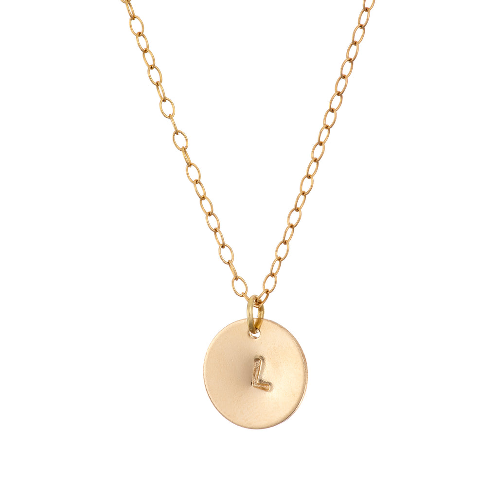 Personalise gold initial Necklace with one disc
