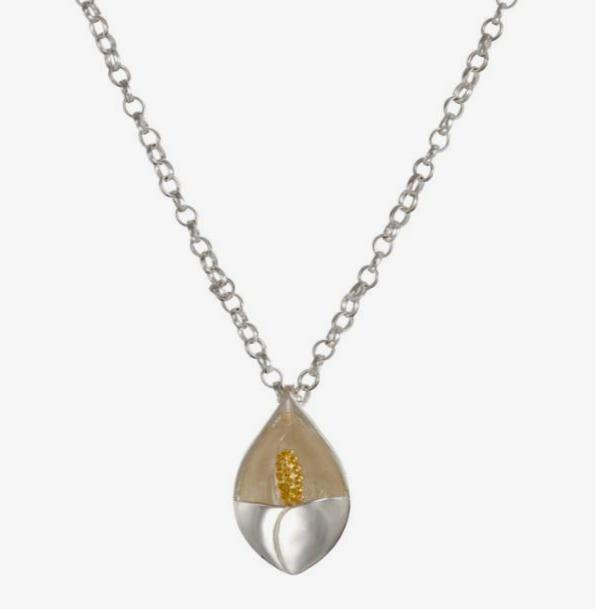 Lily pendant in solid silver with a splash of gold
