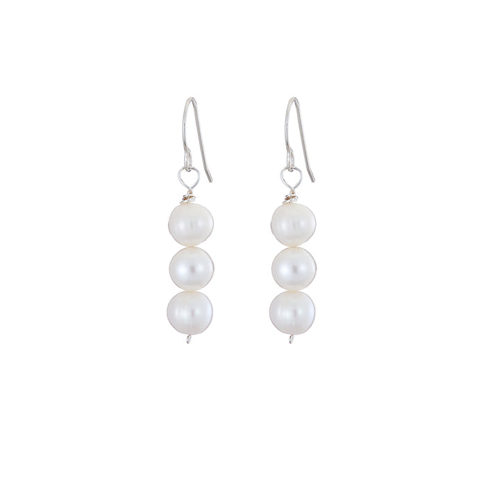 3 drop pearl earrings in silver