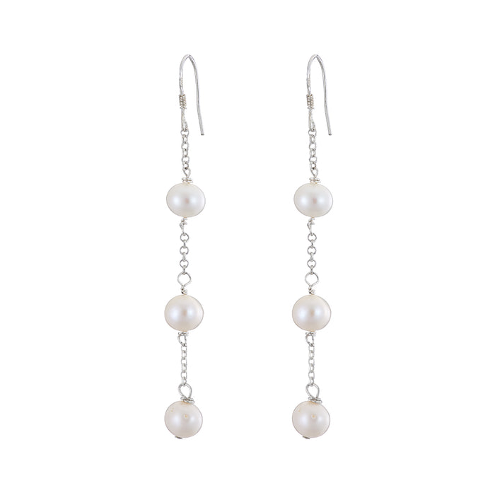 3 long pearl earrings