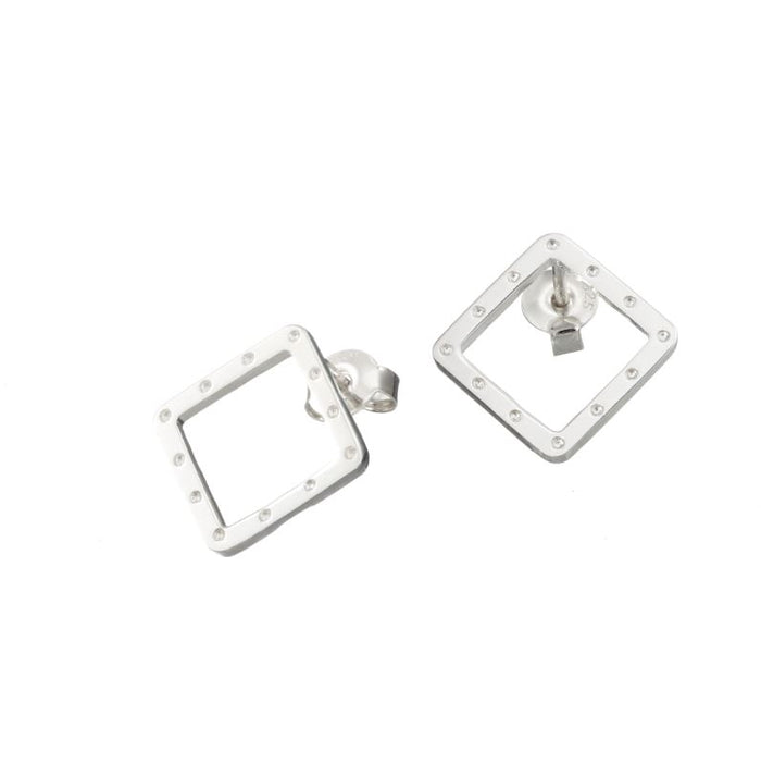 I am dreaming square stud earrings in silver