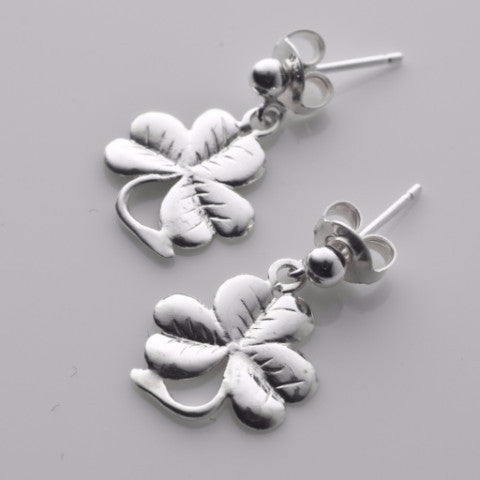 My lucky shamrock tiny drop earrings in silver