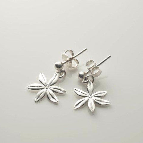 Cover me in daisies tiny drop earrings in silver