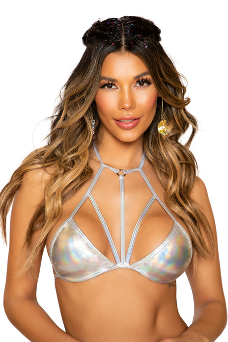 3750 - Shiny Metallic Bikini Top with Strap Detail - Angelina Beauty  Boutique