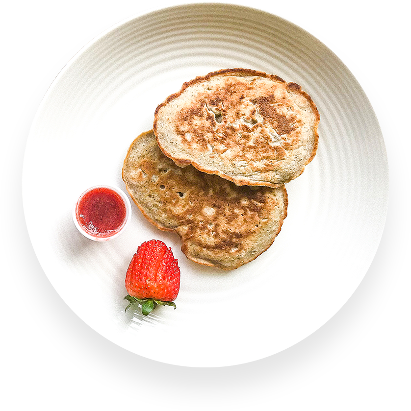Banana Pancakes With Strawberry Jam
