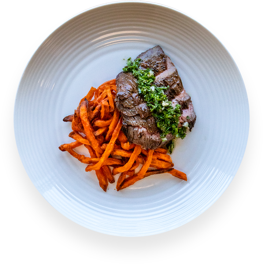 Beef Chimichurri With Sweet Potato Fries