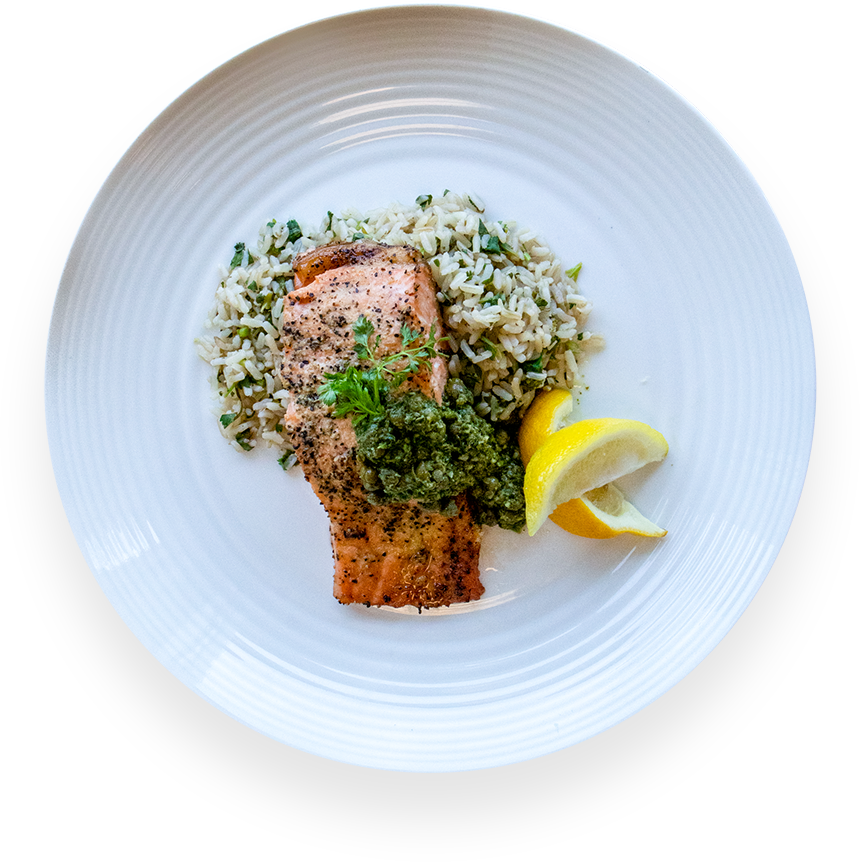 Lemon Pepper Salmon With Cilantro Brown Rice