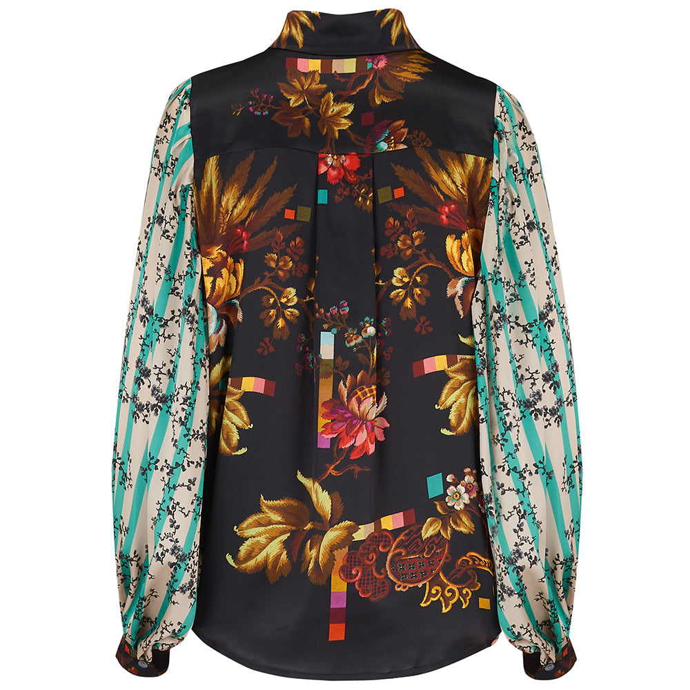 Painters Smock in Opium and Treasure print mix