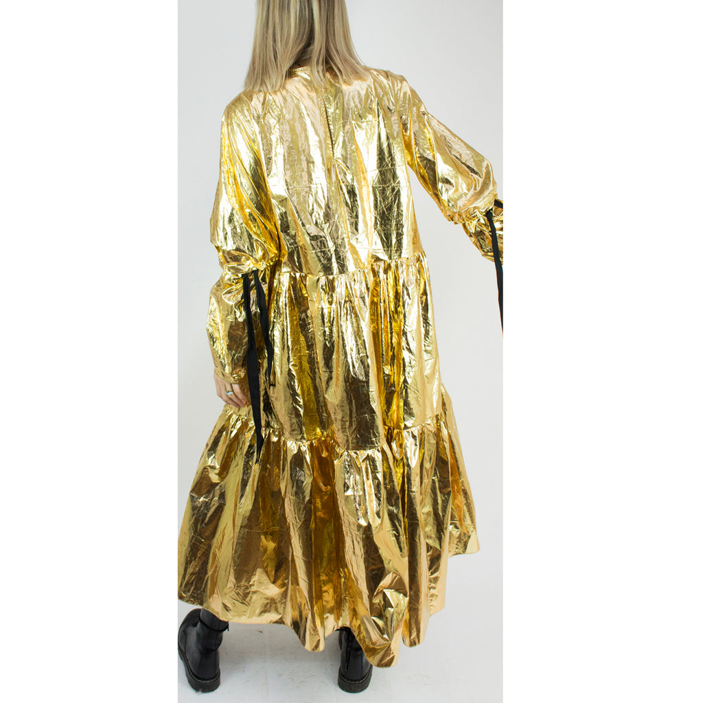 Eidothea Dress in Disco Gold