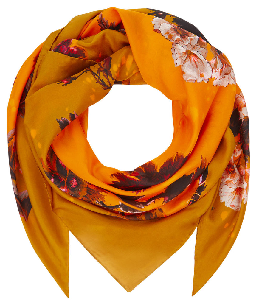 Medium Scarf in Gothic Floral (Ochre) print