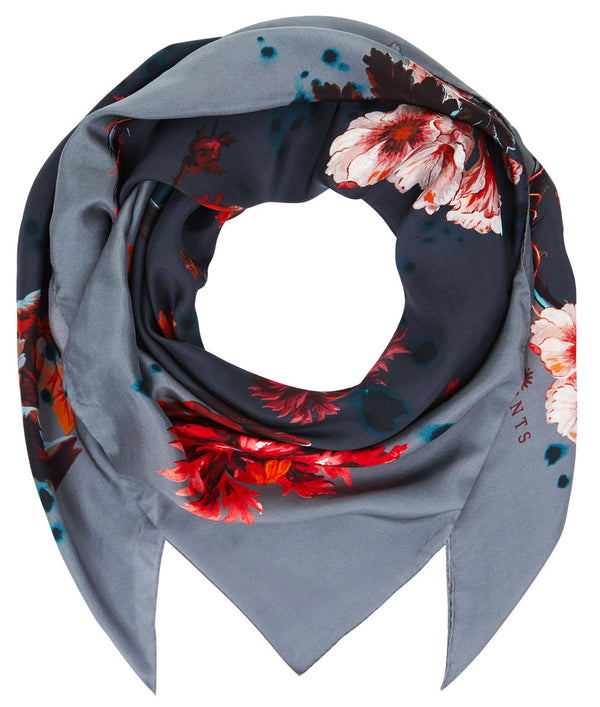 Square scarf in Gothic Floral (deep grey) print