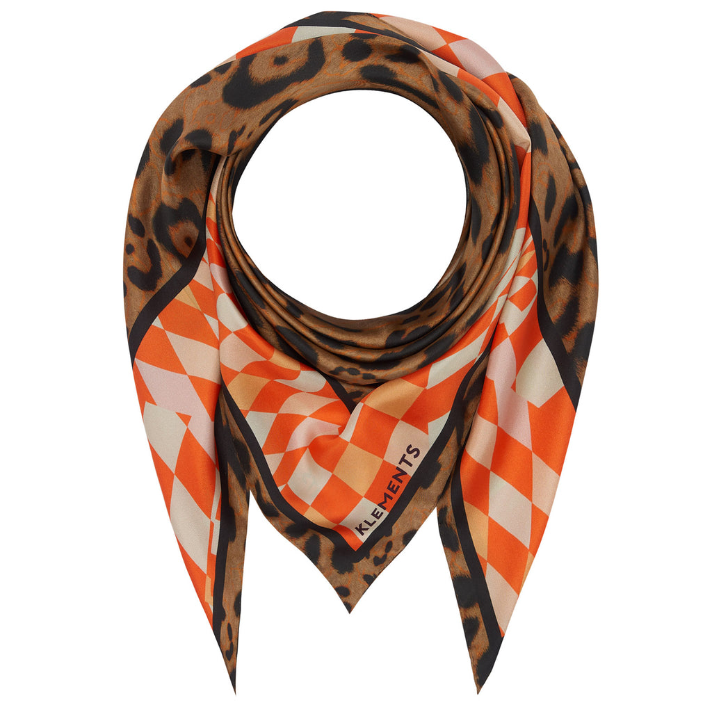 Silk scarf in Labyrnth and Jaguar print