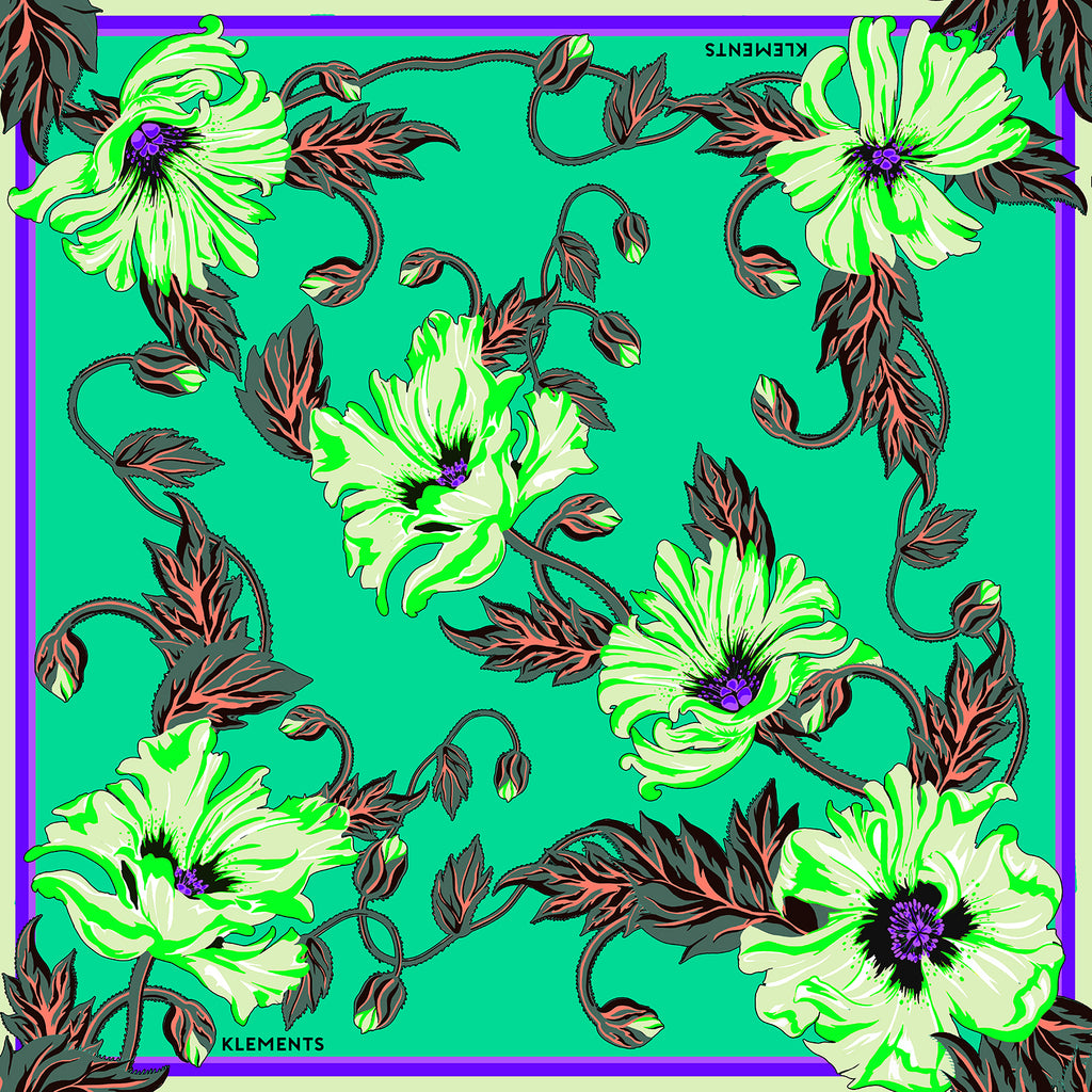 Silk scarf in Poison poppy print