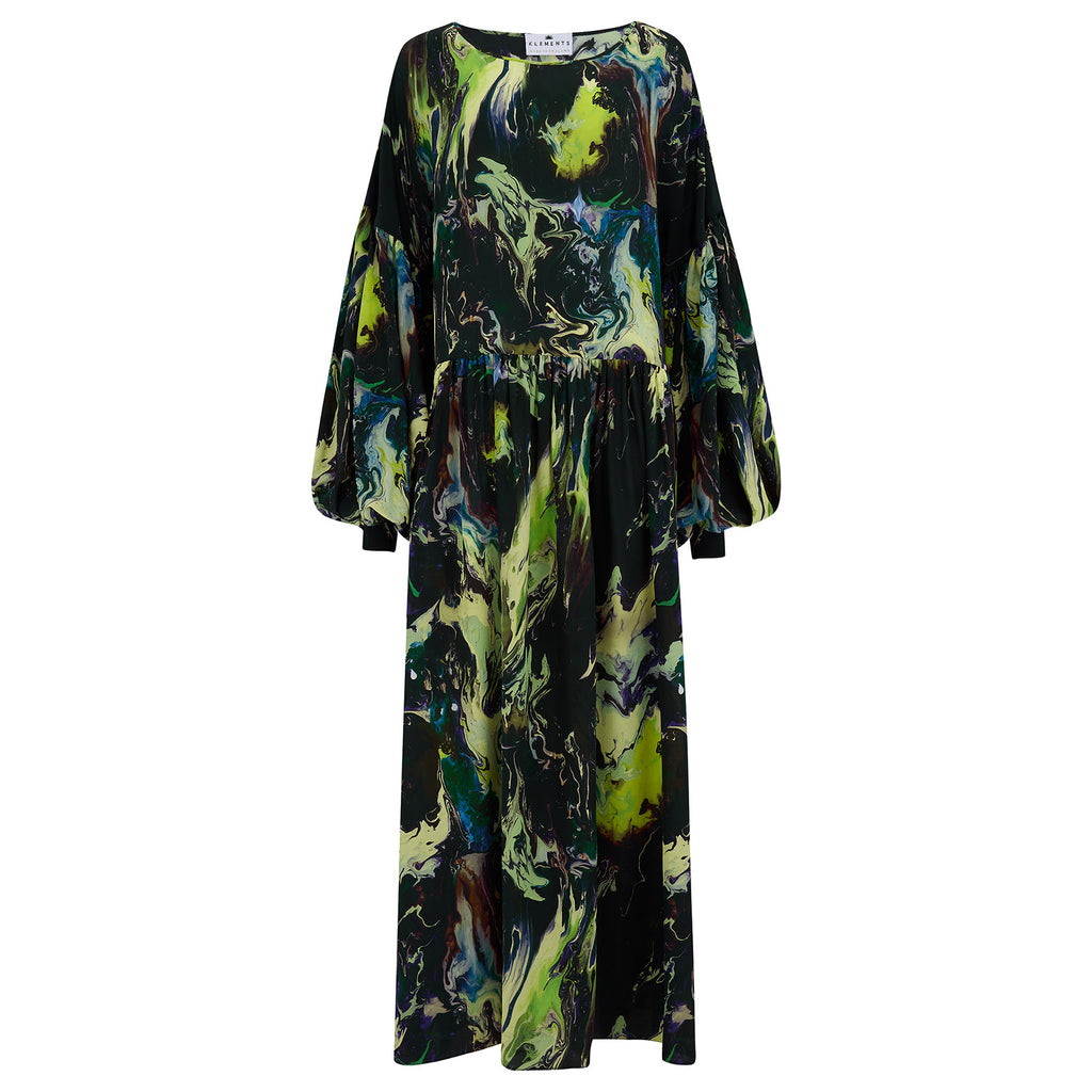 Dusk dress in silk psychriver print