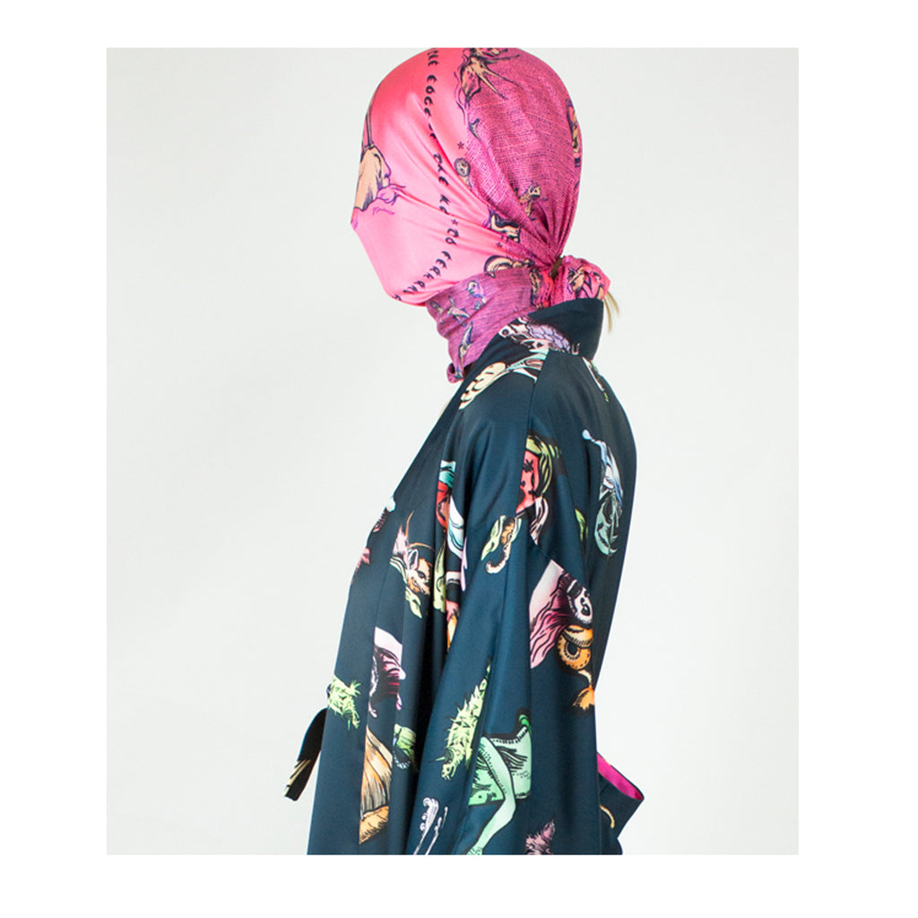Giant Square scarf in Sea monsters print (candy floss)