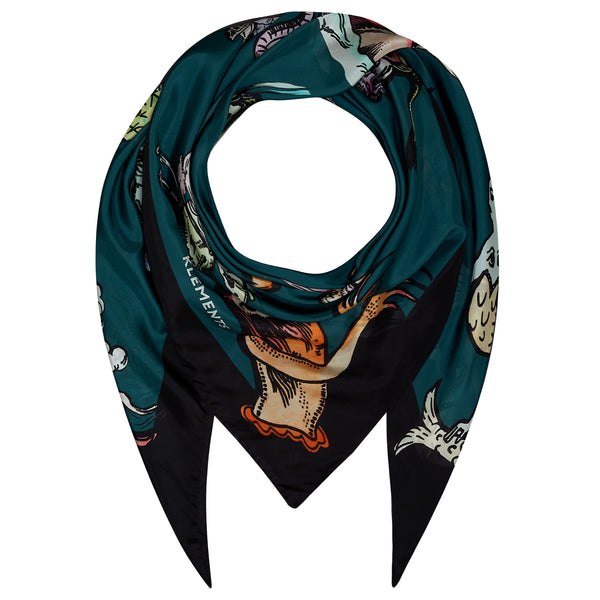 Giant Square scarf in Painted sea monsters print