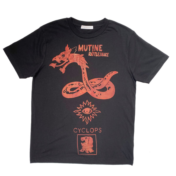 Mutine Rattlesnake T shirt / black T with distressed red print