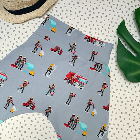unisex grey firefighter print harem leggings for cloth bum babies