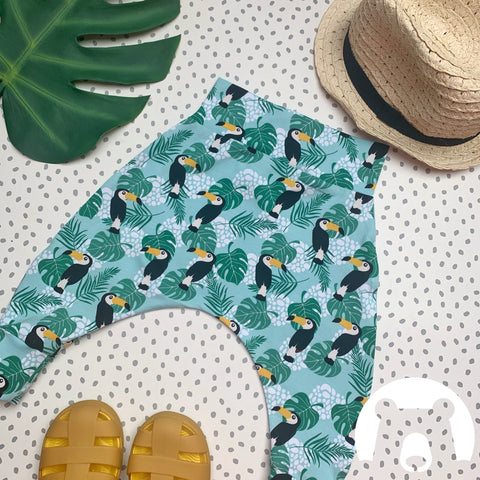 Mint Toucans Harem Pants/leggings