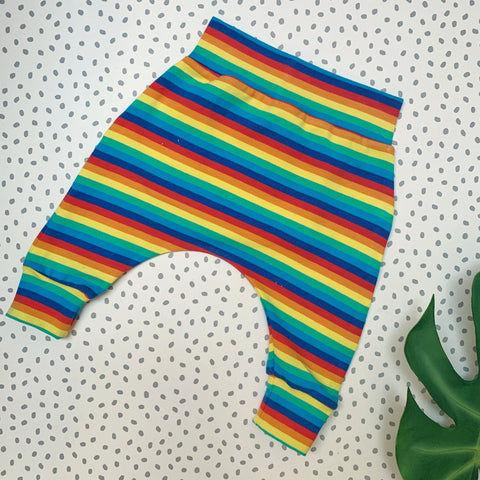 rainbow harem pants by biddy and bear, for cloth nappy babies