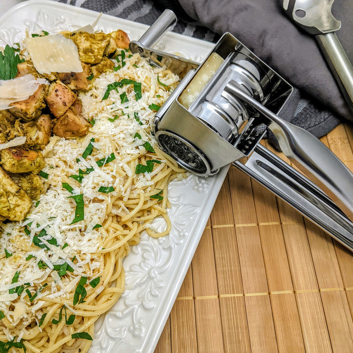 Chicken Pesto Pasta with Parmesan Cheese
