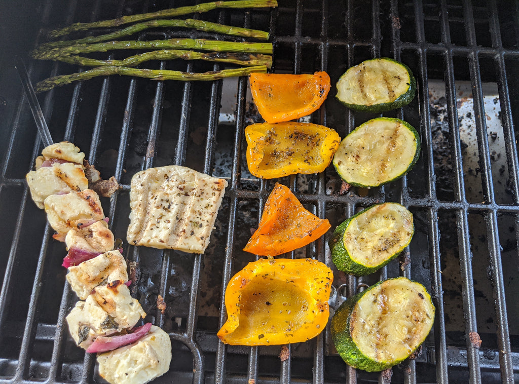 Halloumi grilling on the BBQ
