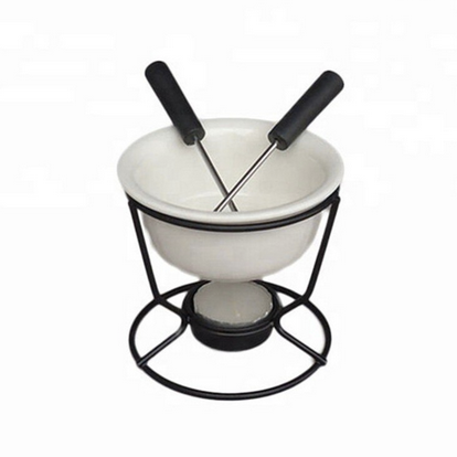 Cheese Fondue Set with Ceramic Bowl and Two Forks - Lavish Cheese