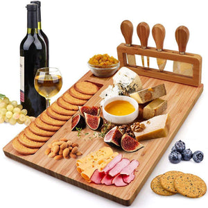 Bamboo Cheese and Charcuterie Serving Platter with matching serving tools - Lavish Cheese