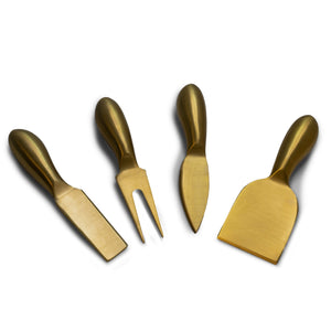 Cheeseboard & Charcuterie Serving Utensils - set of 4 tools with gold metallic finish - Lavish Cheese