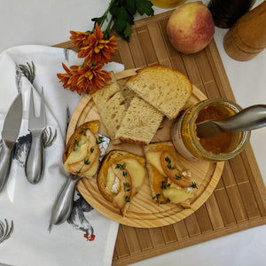 Silver cheese and charcuterie serving set of four tools with brie cheese - Lavish Cheese